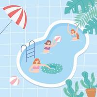 Jugendliche im Urlaub im Pool spielen und schwimmen vektor