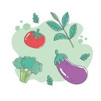 hälsosam mat näring diet organisk tomat aubergine och broccoli