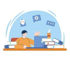 Mann mit Laptop und Bücher auf Schreibtisch Vektor-Design