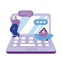 ungt par med smartphone och bärbar dator älskar att chatta vektor