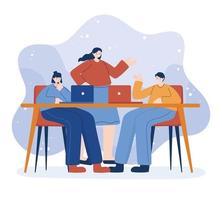 Frauen und Mann mit Laptop auf Schreibtisch Vektor-Design