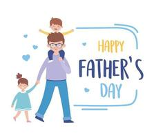 fader son och dotter på fäder dag vektor design