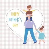 Vater Sohn und Tochter am Vatertag Vektor-Design
