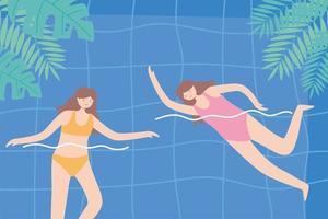 kvinnor som simmar i poolens lövverk lämnar fritid