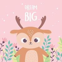 niedliche kleine Hirsch Tierblumen Zweig inspirierende Phrase Cartoon vektor
