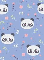 söt panda ansikten blommor lämnar dekoration bakgrund