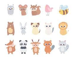niedliche Comic-Tiere kleine Charaktere Eule Maus Eichhörnchen Hirsch Vogel Biene Bär Katze Hund Löwe vektor