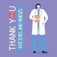 tack läkare och sjuksköterskor, kvinnlig läkare med mask och urklipp