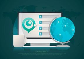 Maus über Standort / GPS-Programm. Website-Design-Menü. vektor