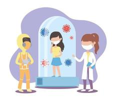 covid 19 Coronavirus-Pandemie, Ärztin mit Schutzanzug Ärztin mit Maske und Patientin in Quarantäne vektor