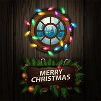 Frohe Weihnachten, Grußkarte mit Holzzeiger mit Rahmen von Weihnachtsbaumzweigen und rundem Fenster mit Blick auf den Winterwald vektor