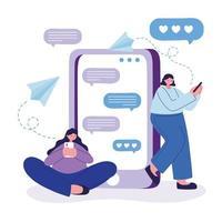 Frauen mit Smartphone-Chat-Vektor-Design vektor