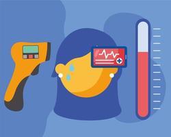 sjuk kvinna med feber och smartphone med hjärtpulsvektordesign