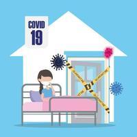 covid 19 coronaviruspandemi, smittad kvinna med mask i sängkarantänhem