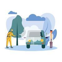 Mann mit Schutzanzug, der Auto und männlichen Doktorvektorentwurf sprüht vektor