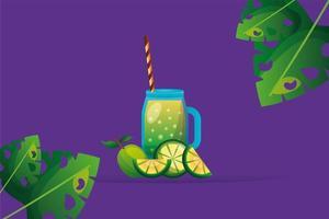 limefrukter med juice och bladvektordesign vektor