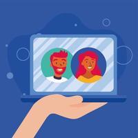 kvinna- och manavatar på bärbar dator i videochattvektordesign