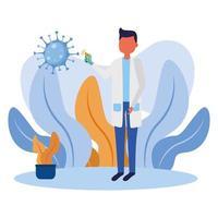 männlicher Arzt, der Thermometerpistolenvektorentwurf hält