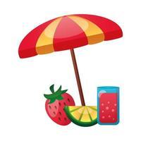 Erdbeere, Zitrone und Saft mit Regenschirmvektorentwurf