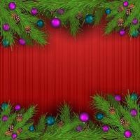leere Weihnachtsschablone mit rotem Hintergrund und Rahmen von Weihnachtsbaumzweigen verziert mit Weihnachtskugeln vektor