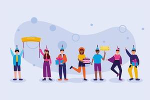 Frauen und Männer im alles Gute zum Geburtstagfeier-Vektordesign