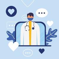 online manlig läkare med mask på bärbar vektordesign