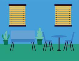 blaue Couch und Tisch mit Stühlen im Raumvektorentwurf