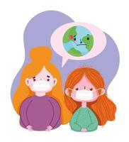 Covid 19 Coronavirus-Pandemie, Mädchen mit medizinischen Masken und kranker Welt vektor