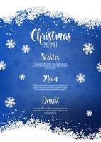 Weihnachtsmenü Hintergrund mit schneebedecktem Design