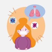 covid 19 coronavirus pandemi, flicka bär förhindra mask