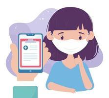 onlinehälsa, patient med mask och smarttelefonkonsultation covid 19 coronavirus vektor