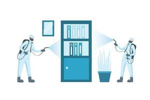 Männer mit Schutzanzug sprühen Büromöbel Vektor-Design vektor