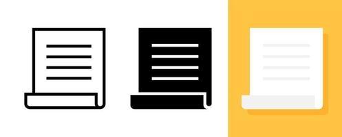 skript eller bläddra papper ikonuppsättning