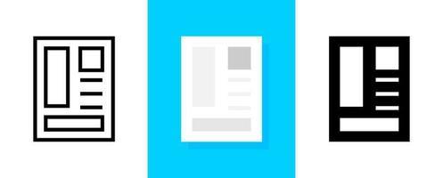 einfaches Dokument- oder Zeitungssymbolset vektor