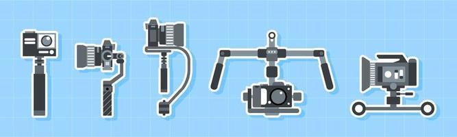 handhållen, steadicam och kamerastabilisator ikonuppsättning vektor