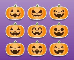 uppsättning tecknade halloween pumpaklistermärken vektor