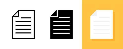 enkelt dokument eller fil ikonuppsättning