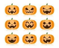 uppsättning tecknade halloween pumpor vektor