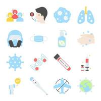 coronavirus utbrott platt ikonuppsättning