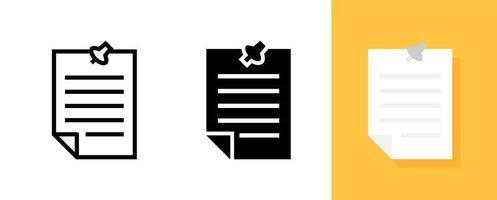 enkelt dokument med ikon för knappnål