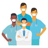 männliche Ärzte mit Uniformen und Masken Vektordesign