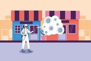 Mann mit Schutzanzug sprüht Geschäfte mit covid 19 Vektordesign vektor