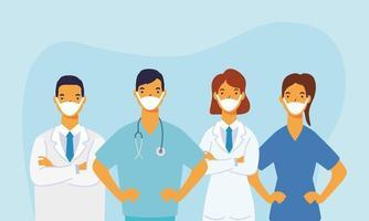 männliche und weibliche Ärzte mit Uniformen und Masken Vektordesign