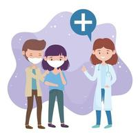 Gesundheit online, Ärztin und Menschen mit medizinischem Maskenschutz covid 19 Coronavirus vektor