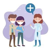 hälsa online, kvinnlig läkare och personer med medicinsk maskskydd covid 19 coronavirus vektor