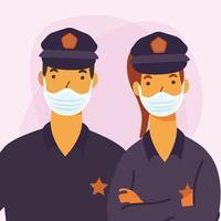 poliskvinna och man med maskvektordesign