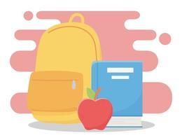 onlineutbildning, ryggsäckbok och äppelskola vektor