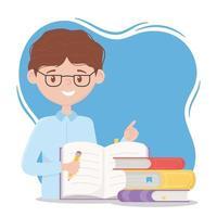 Online-Bildung, Lehrer mit Bleistift und Bücher Schreibwaren vektor
