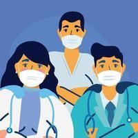 manliga och kvinnliga läkare med uniformer och masker vektordesign