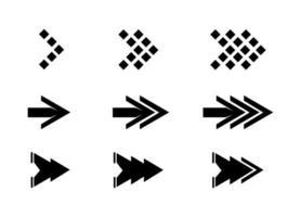 Satz von einzigartigen Pfeilsymbolentwurf lokalisiert auf weißem Hintergrund vektor